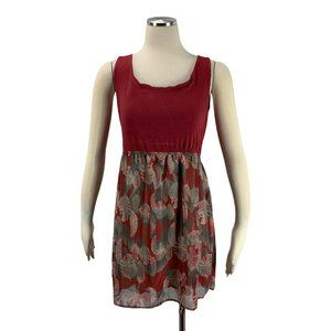 Color Me Red Large Feather Dress Lined Sleeveless